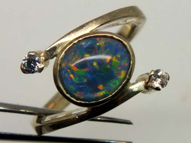 DOUBLET OPAL SILVER RING 19.1 CTS OF-989