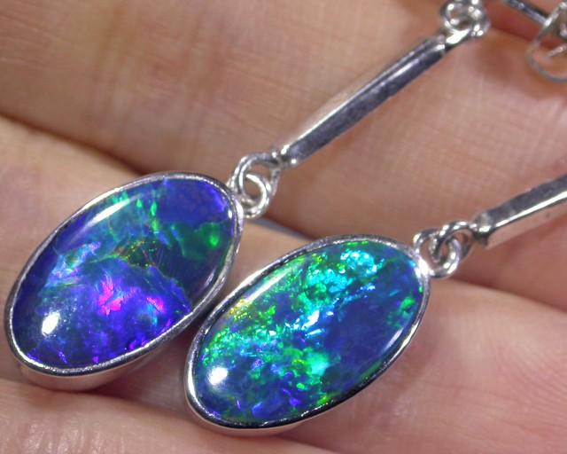 Brilliant gem grade doublet in silver swing earrings  BU 329
