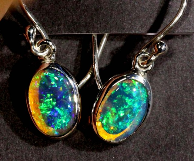 CRYSTAL OPAL SILVER  EARRINGS 6.85 CTS OF-1061 GC