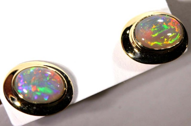 BLACK OPAL 14k GOLD  EARRINGS 6.25   CTS    OF-1072 GC