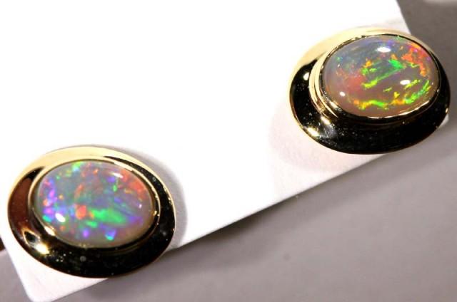 BLACK OPAL 14k GOLD  EARRINGS 6.25   CTS    OF-1072 GC
