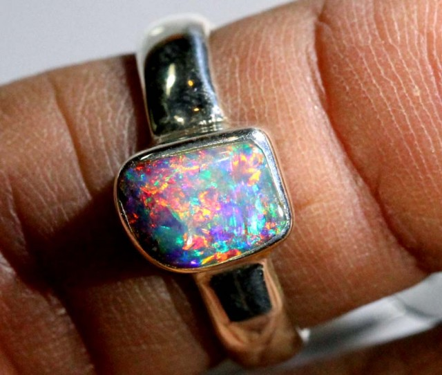 BOULDER OPAL SILVER RING 17.15 CTS OF-1077 GC