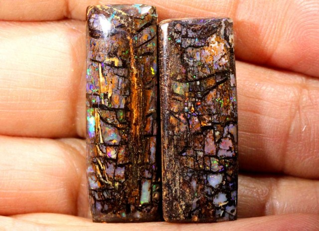 BOULDER WOOD OPAL POLISHED STONE PAIR (2 PCS) CTS 40.60 INV-241