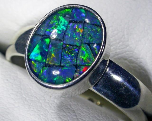 Aussie Mosaic Opal Triplet  in silver Ring PL 1357