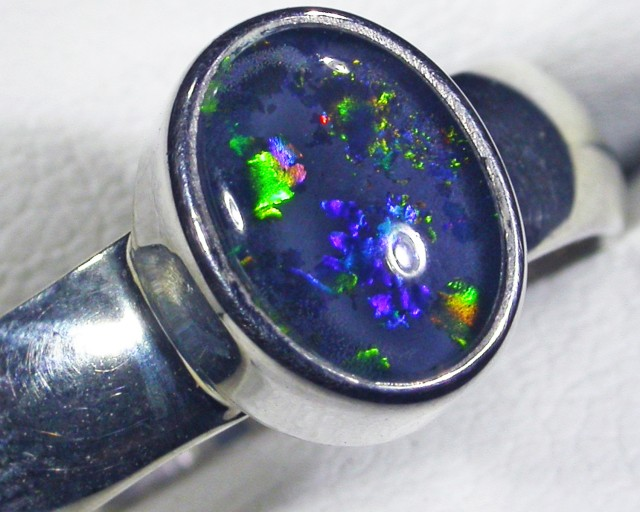 Aussie Opal Triplet  in silver Ring PL 1383