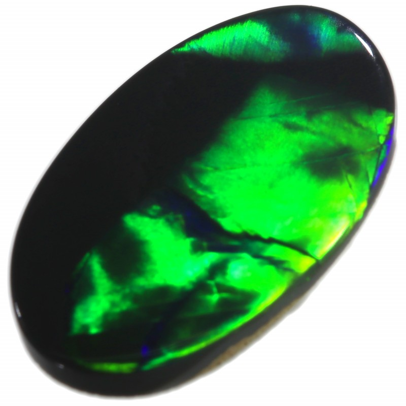 1.35 CTS BRIGHT ELECTRIC GREEN FLASH BLACK OPAL N1 DIRECTIONAL C7189