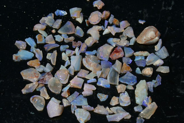 Beautiful Blue/Green Coober Pedy Shell Pieces 3.2 Ounces WOW!