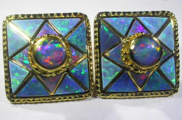 18K INLAY EARRINGS -DAVID FREELAND [SOH]