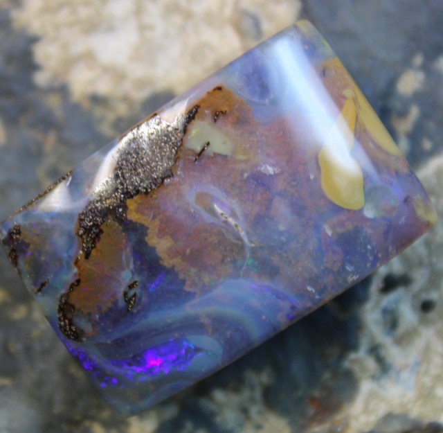 53.90 CTS BOULDER OPAL POLISHED STONE GLOSSY FINISH D19