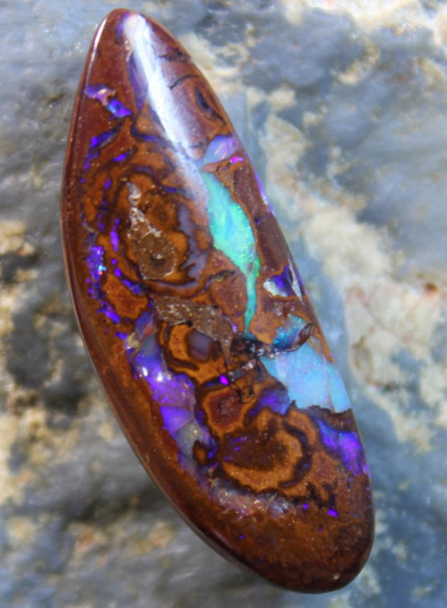 12.80 CTS BOULDER OPAL POLISHED STONE GLOSSY FINISH D50