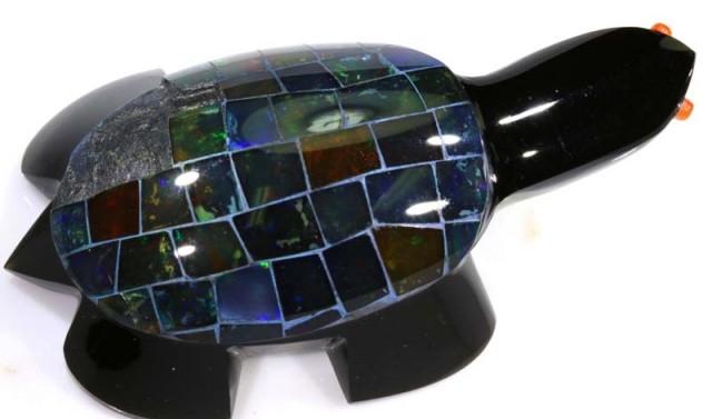 230 CTS BLACK OPAL INLAY TURTLE LO-3201