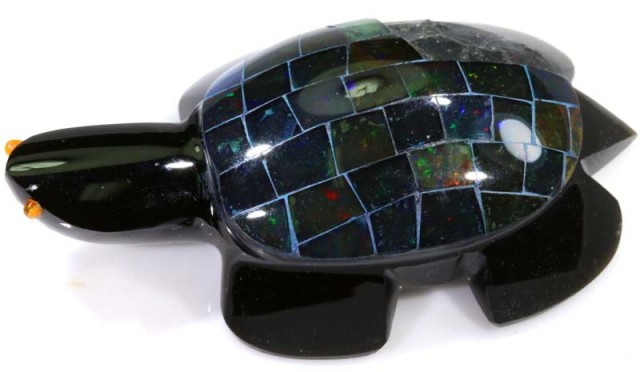 214.15 CTS BLACK OPAL INLAY TURTLE LO-3203