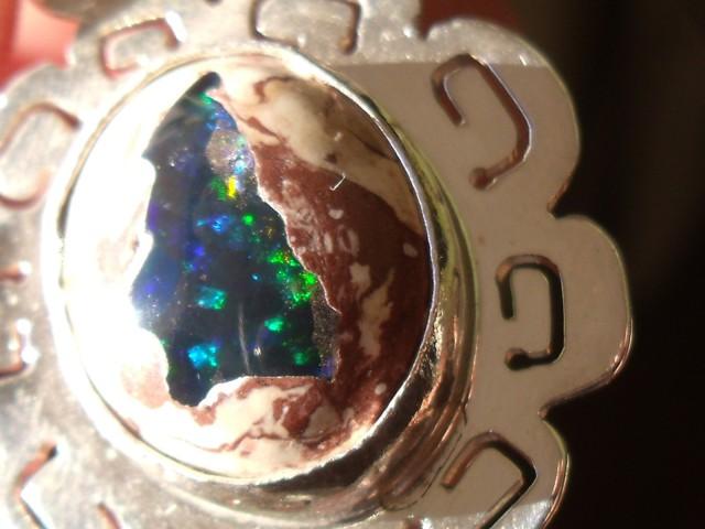 Mexican opal crystal inlaid  in Matrix gem silver pendant