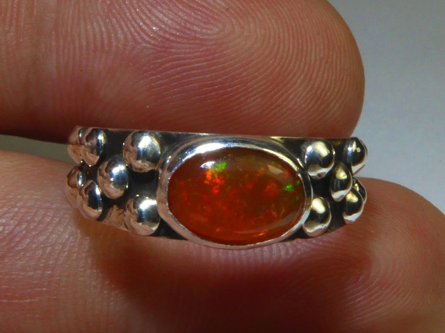 Sz6.5 Natural Mexican Opal .925 Silver Taxco Handmade Boho Ring Jewelry