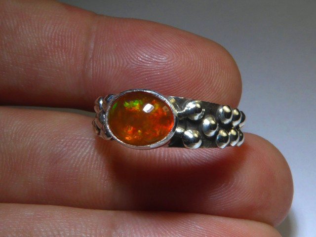 Sz 8.5 Natural Mexican Opal .925 Silver Taxco Handmade Boho Ring Jewelry