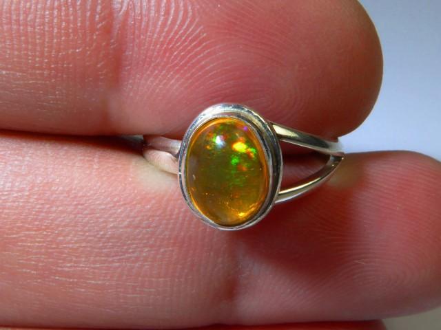 Sz 6 Natural Ethiopian Opal .925 Silver Taxco Handmade Boho Ring Jewelry