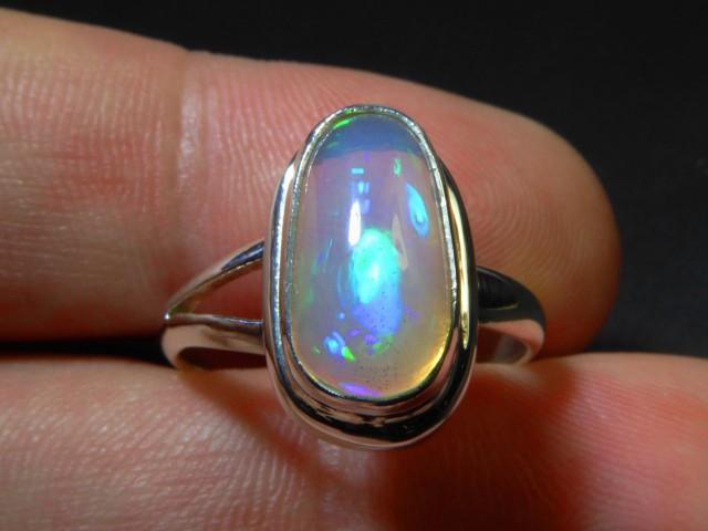 Sz 7.5 Natural Ethiopian Opal .925 Silver Taxco Handmade Boho Ring Jewelry
