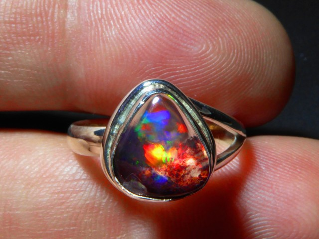 Sz 6.25 Natural Mexican Opal .925 Silver Taxco Handmade Boho Ring Jewelry