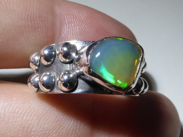 Sz 10 Natural Ethiopian Opal .925 Silver Taxco Handmade Boho Ring Men's Jew