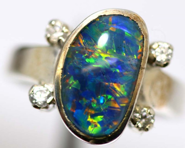 TRIPLET OPAL SILVER RING 24.1 CTS OF-1141
