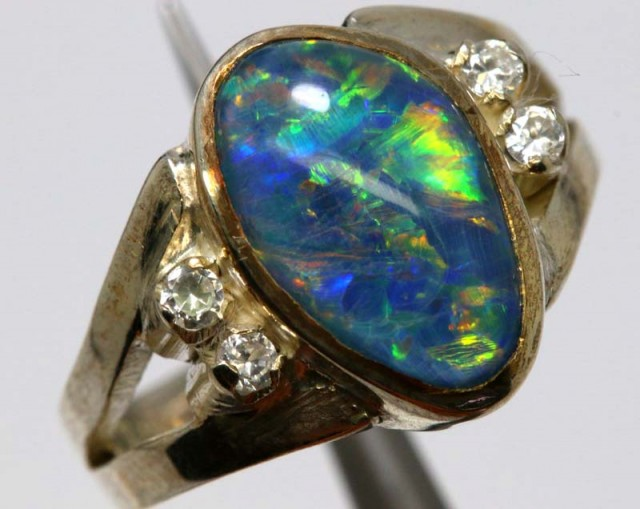 TRIPLET OPAL SILVER RING 23.9 CTS OF-1143