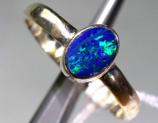 DOUBLET OPAL SILVER RING 8.85  CTS OF-1156