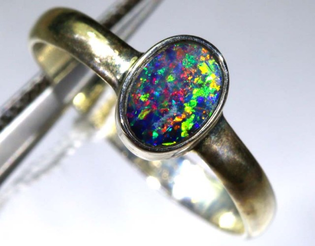 DOUBLET OPAL SILVER RING 9  CTS OF-1157
