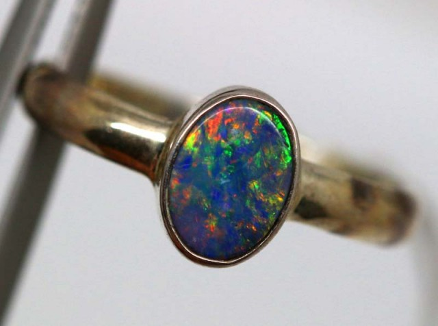 DOUBLET OPAL SILVER RING  9 CTS OF-1158
