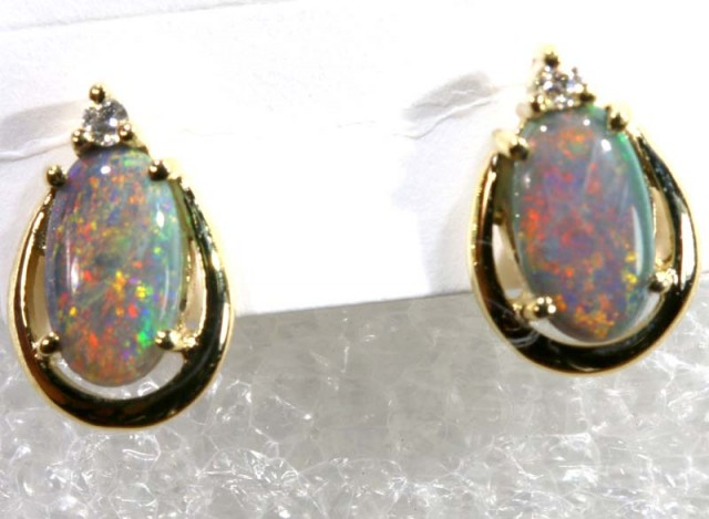 BLACK OPAL 9 CT YELLOW GOLD   EARRINGS 6.30   CTS    OF-1166