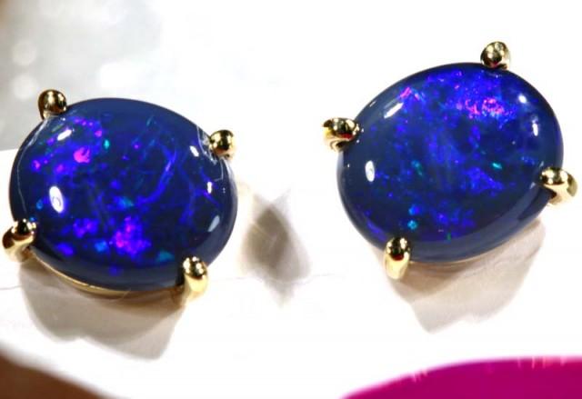 BLACK OPAL GOLD EARRINGS  8.45  CTS    OF-1171