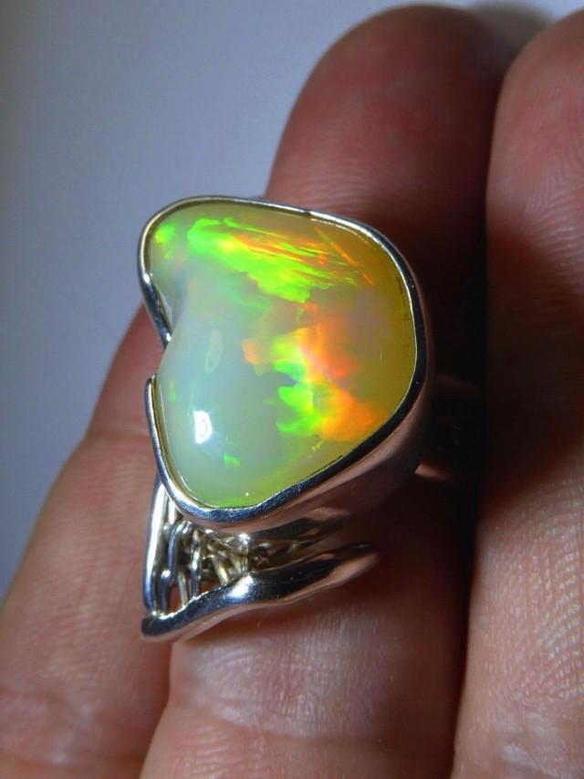 Sz 6-9 Natural Ethiopian Opal .925 Silver Taxco Handmade Boho Ring  Jew