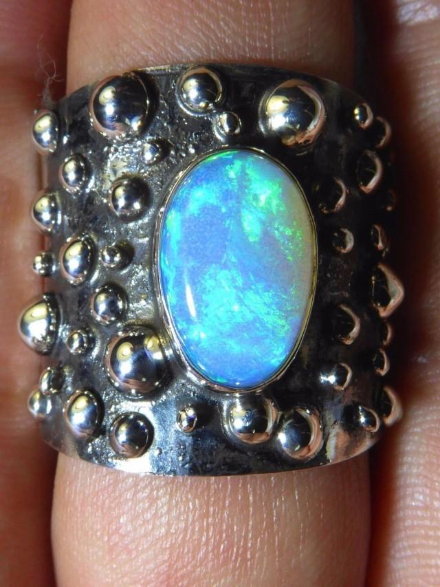 Sz 12 Natural Ethiopian Opal .925 Silver Taxco Handmade Boho Ring Men's Jew