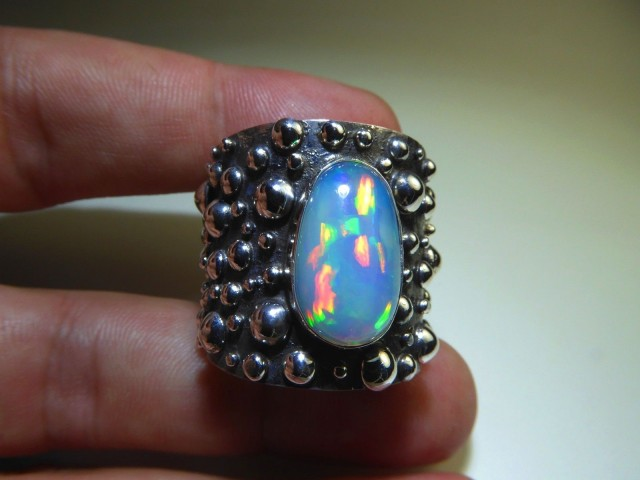 Sz 13 Natural Ethiopian Opal .925 Silver Taxco Handmade Boho Ring Men's Jew