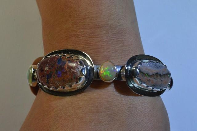 .925-Silver Cuff Taxco Handmade Gypsy Boho Jewelry Natural Precious Stones