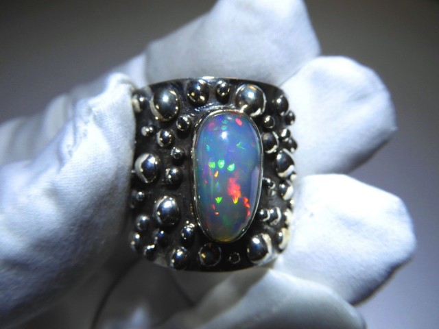 Sz 13 Natural Ethiopian Opal .925 Silver Taxco Handmade Boho Ring Men's Jew
