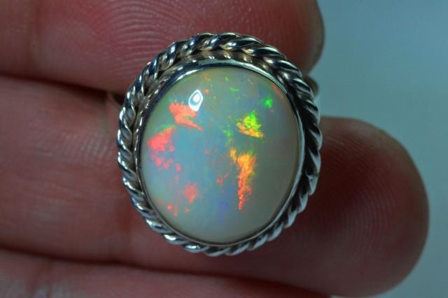 Sz 7 Natural Ethiopian Opal .925 Silver Taxco Handmade Boho Ring  Jew