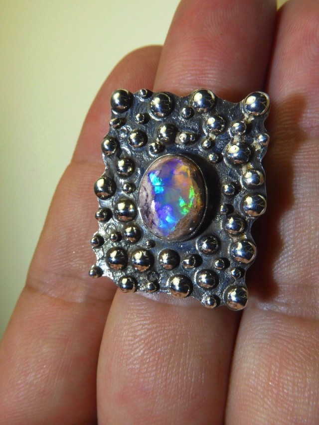 Sz 7.5 Natural Mexican Matrix Opal .925 Silver Taxco Handmade Boho Ring Jew