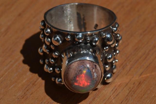 Sz 7.5 Natural Mexican Matrix Opal .925 Silver Taxco Handmade Boho Ring  Je