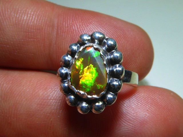 Sz 6 Natural Ethiopian Opal .925 Silver Taxco Handmade Boho Ring Men's Jew