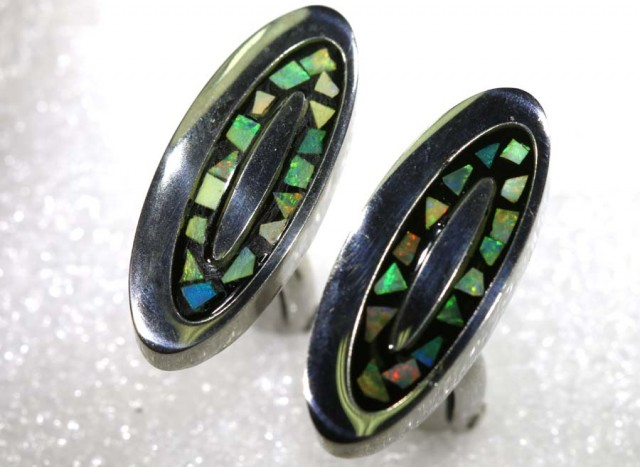 OPAL INLAY CUFF LINKS 65.55 CTS OF-1184