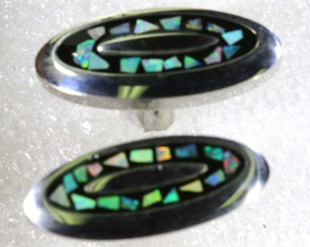 OPAL INLAY CUFF LINKS 65.75 CTS OF-1199