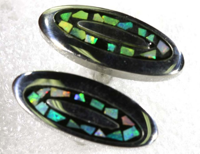 OPAL INLAY CUFF LINKS 66.30 CTS OF-1197