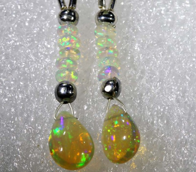 ETHIOPIAN OPAL  SIVER EARRINGS 8.15  CTS   OF-1206