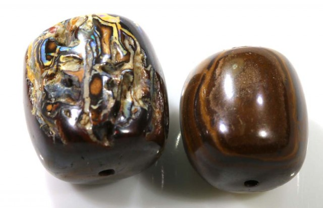 63.85 CTS YOWAH OPAL BEADS PARCEL (2PCS) LO-3444