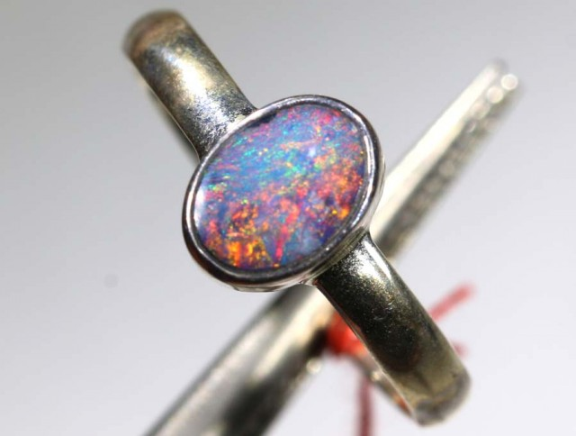 9.10 CTS DOUBLET OPAL SILVER RING OF-1218