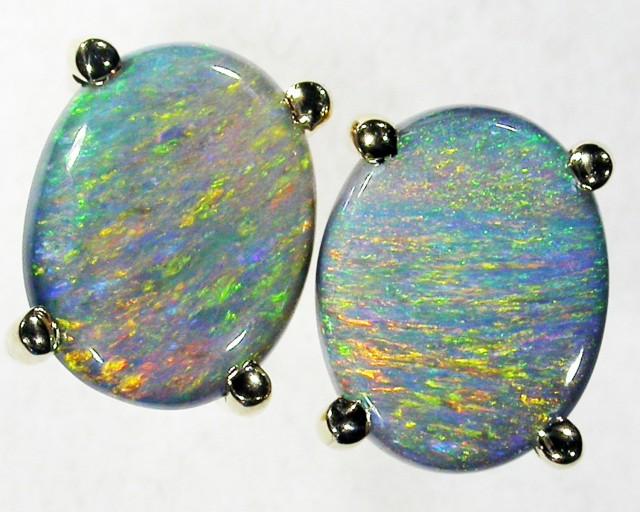 Natural Mutli fire  opal earrings set in 9 k Gold BU 958