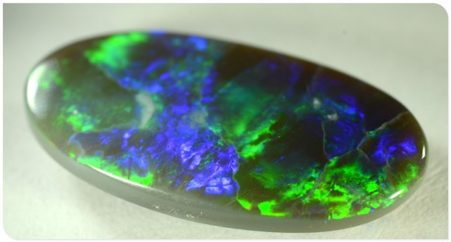 4.25ct Black Opal - ID:20182 Electric Blue and green block pattern