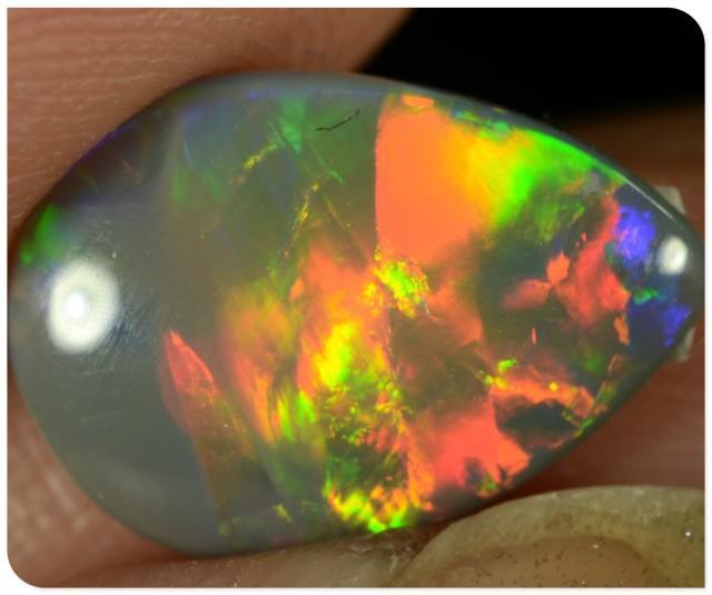 1.75ct Semi Black Opal - ID:20085 Pear shape red gold rare