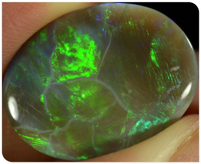BIG 9.1ct Semi Black Opal - ID:10240 Bright green gold