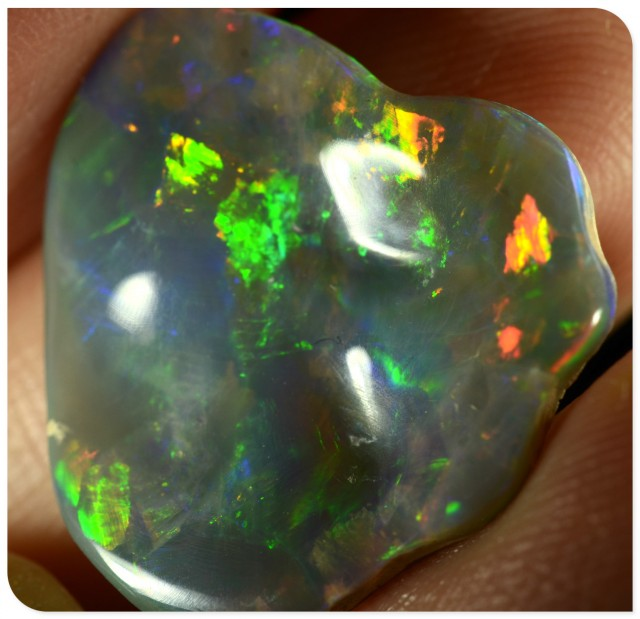 BIG 6.7ct Black Opal - ID:20076 Unique multi colour gem freeform